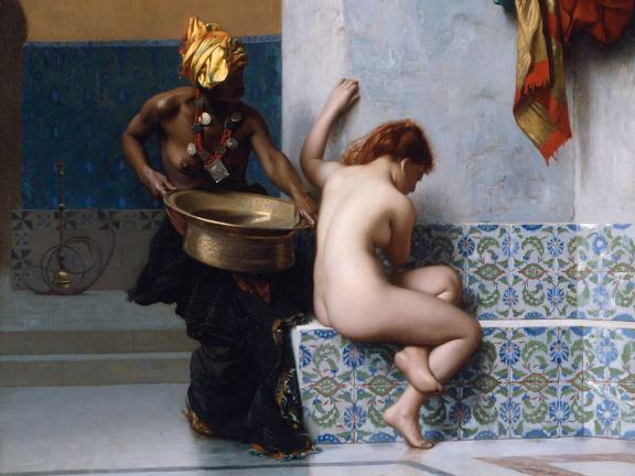 painting of a woman's bath with a nude woman and her African attendant.