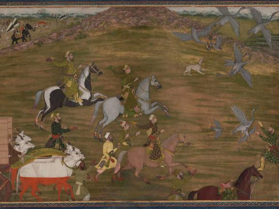 Painting of princes on horseback and in caravan, hunting hawks.