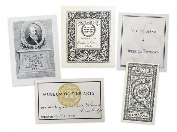 Arrangement of old bookplates from the MFA library collection