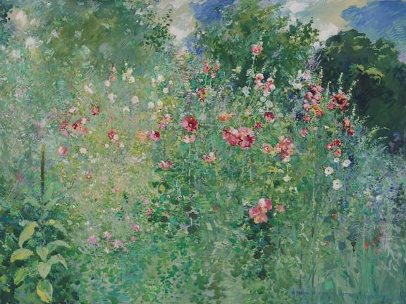 watercolor painting of lush green field with red and pink flowers speckled throughout