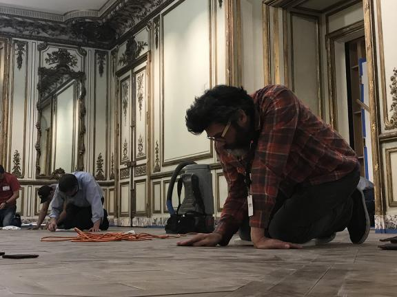 Installation of the French Salon period room