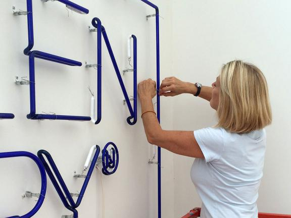 Installation of a contemporary neon artwork
