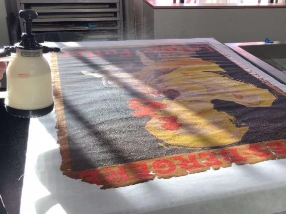 Lithograph undergoing treatment