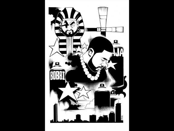 "Black and white illustration of Rob ""Problak"" Gibbs by Rob Stull"