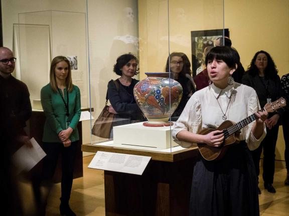 women playing instrument in galleries