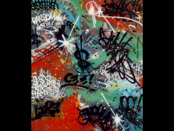 red, white, black, and green abstract spray painting