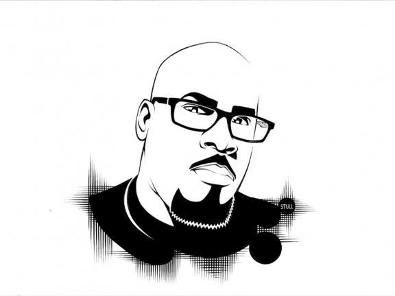 black and white illustration of rob stull
