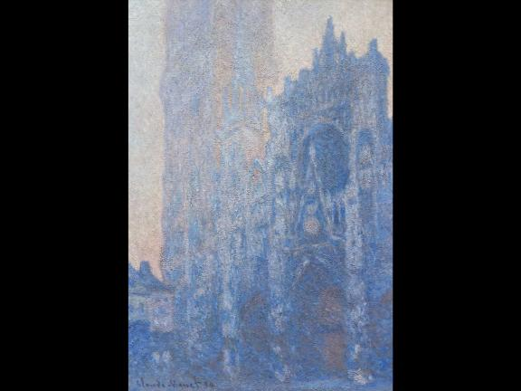 painting of a cathedral with a blue haze