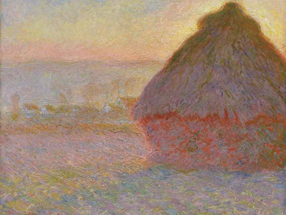 painting of a haystack at sunset