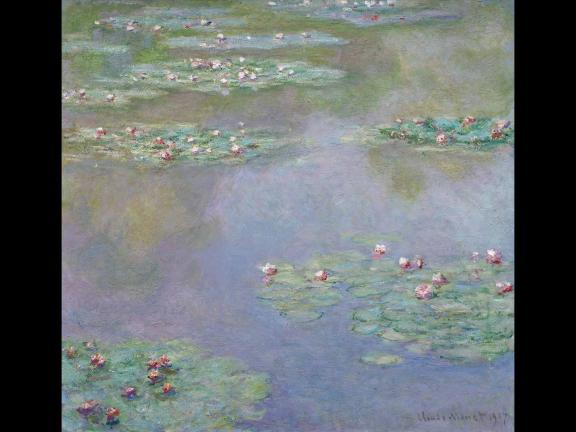 painting of waterlilies in a pond