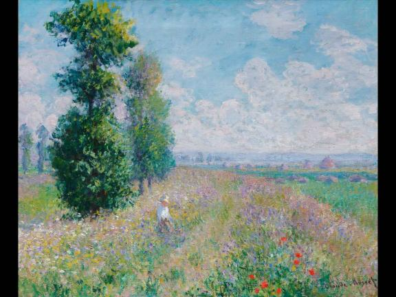 painting of a field of flowers with trees