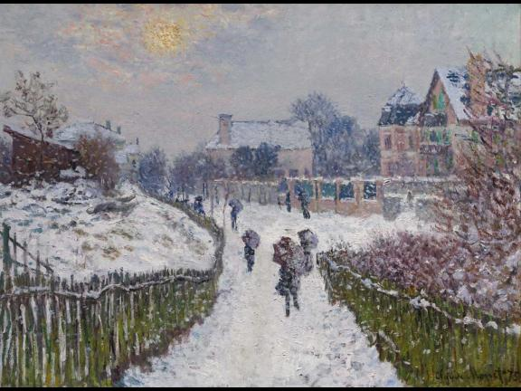 painting of people walking through a snowy village