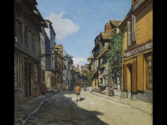 painting of a person walking through a town during the day