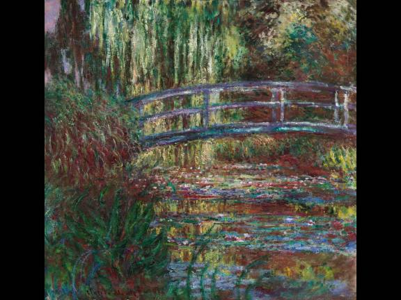 painting of a pond and bridge