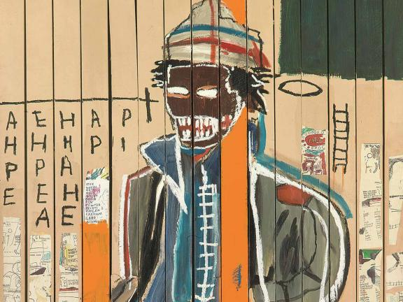 cropped image of Anthony Clarke painting by Basquiat
