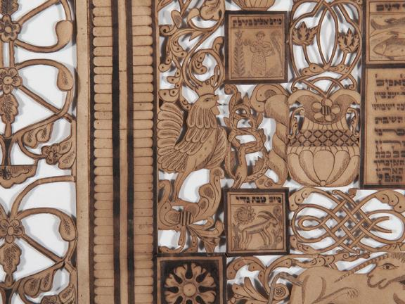 Detail of Judaica papercut during treatment