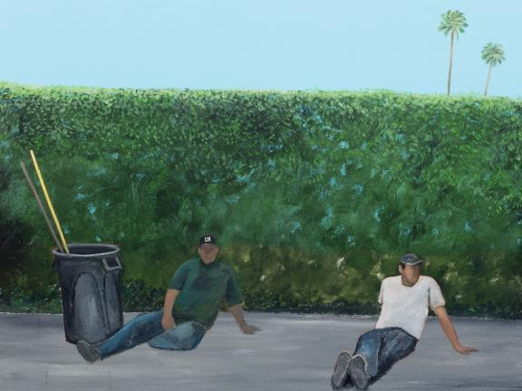 painting of two faceless individuals sitting on sidewalk in front of long hedge, with barrel and broomsticks adjacent