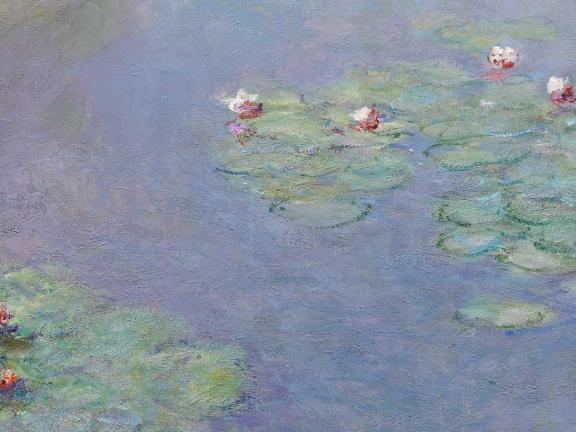 detail of impressionist painting of waterlilies on pond by Claude Monet