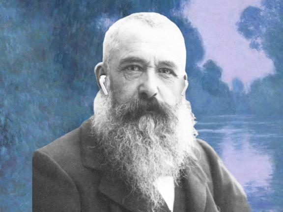 picture of claude monet in front of a painting with ear buds in