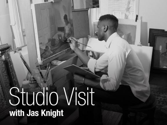 photograph depicting artist Jas Knight painting at easel