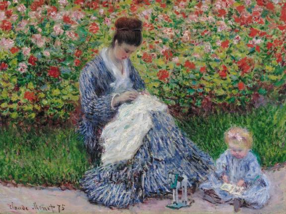 Impressionist Monet painting depicting seated woman sewing in garden with young child sitting adjacent on ground