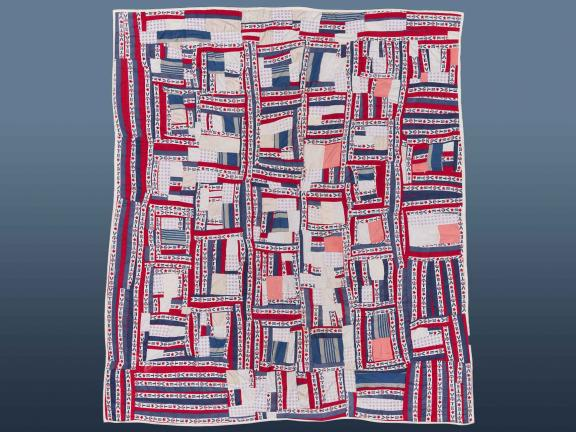 image of a red, white, and blue quilt that says vote on it