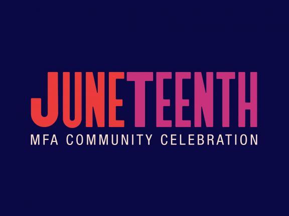 the word Junteenth in orange and purple type