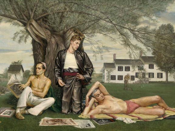 painting of three men laying in a yard outside of a house