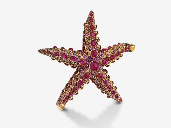 pink jeweled starfish brooch