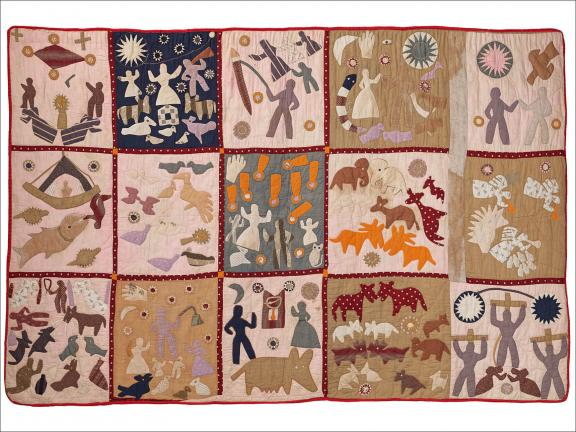 Quilt depicting scenes from the Bible