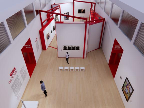 aerial image of a virtual representation of the Women Take the Floor exhibition