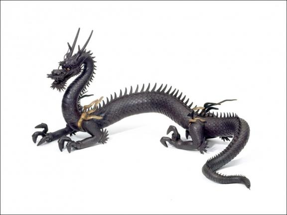bronze sculpture of a dragon