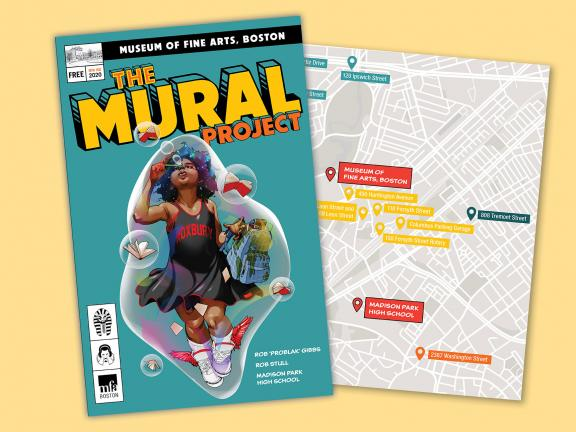 cover of Mural Project guide next to map of mural sites