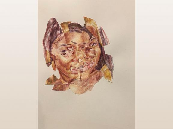 color pencil drawing and collage of several different women that makes one womans face