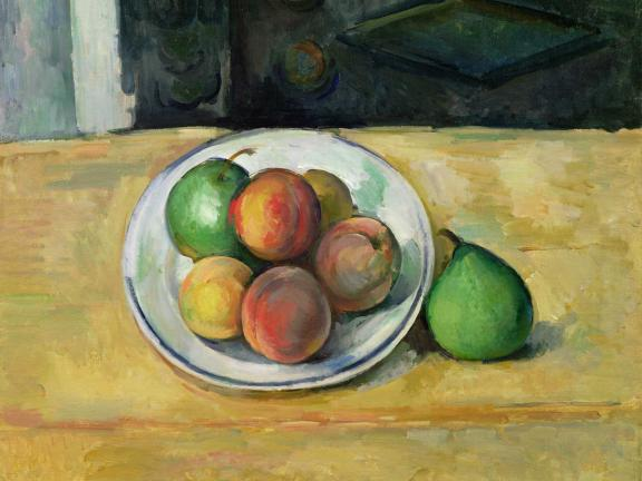 painting of peaches and pears in a bowl