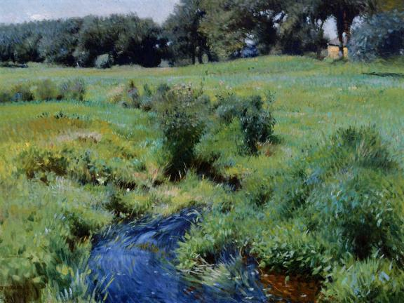 painting of a small stream through a grassy field
