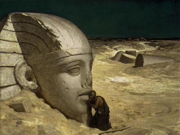 In a nighttime desert landscape, a shadowy figure kneels before the ruins of the Sphinx with his ear to the statue's mouth.