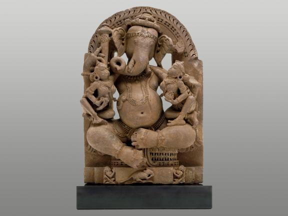 brown sandstone sculpture of Ganesh