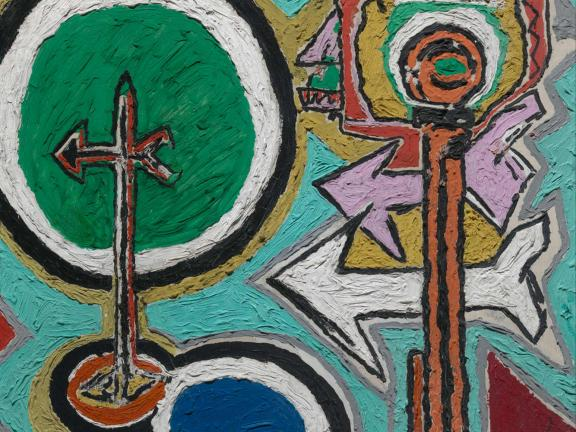 abstract painting with green and blue and arrows