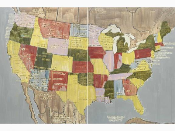 Map of the United Sates of America in washed primary colors with names of Indigenous tribal nations in place of Western place names.