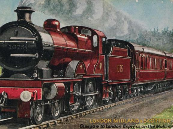 postcard with a drawing of a red train on it
