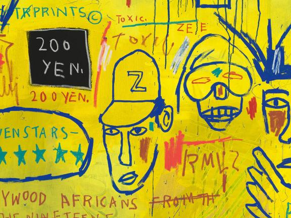 detail of yellow and blue painting inspired by graffiti by Jean-Michel Basquiat made with acrylic and oil paintstick on canvas