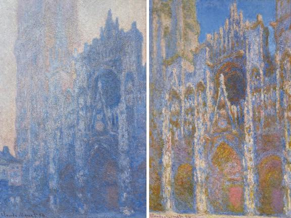 Near-identical views of the Rouen Cathedral facade: on the left, the image is cool, gray, and slightly foggy; on the right, the facade is radiant and sunny.