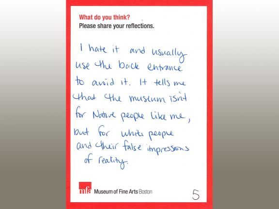 MFA comment card with handwritten comment expressing hatred for Dallin's Appeal to the Great Spirit sculpture