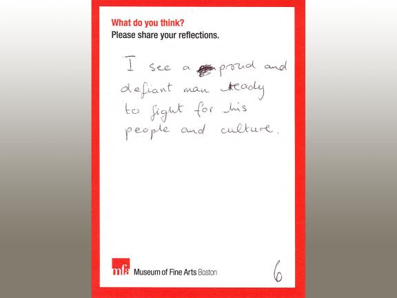 MFA comment card with handwritten comment that interprets sculpture as depicting proud and defiant man