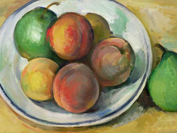detail of Cezanne painting depicting bowl of peaches and pears