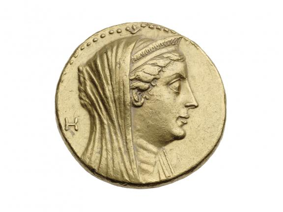 Gold coin with head of Arsinoe II