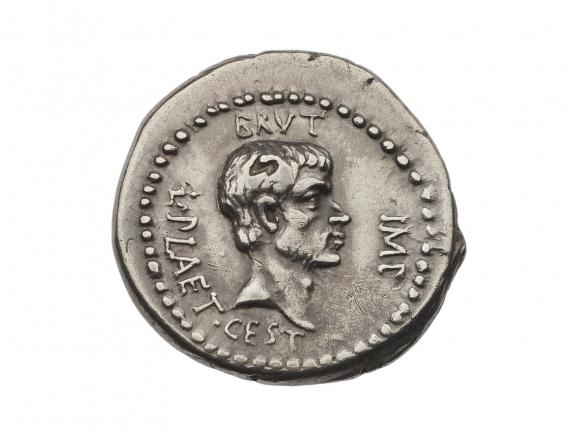 Silver coin with head of M. Junius Brutus