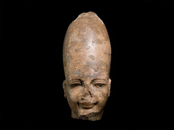 Quartzite bust of man's head.