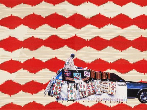 Red and white geometrically patterned print with a station wagon covered with weavings and a woman sitting on top
